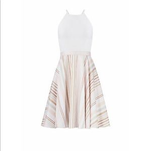Badgley Mischka Dress White Size 4 Stripe Halter